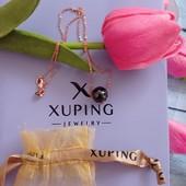 Xuping, колье, цепочка + шарм керамика, медзолото, 45 см длина