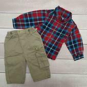 Лот рубашка клетчатая, штаны/джогеры на 6 мес