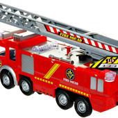 Последняя!!Пожарная машина с лестницей Big Motors(SY732)звук.свет.сама ездит поливает водой.