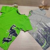 Германия! Суперовая коттоновая футболка для мальчика, с динозаврами! 2 шт в лоте! 86/92, полномерят!