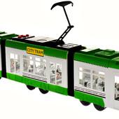 """Последний!!!Большой .дорогой """"Городской трамвай"""",от Big Motors красный 1258-2.ездит.играет.светится"""