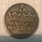 Монета Швеции 5 эре 1945