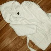 Белый махровый домашний банный халат на рост 80 см