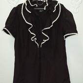 Zara! Стильная черная блуза с белой окантовкой. Размер M_L.