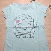 Польша! Милашная коттоновая футболка для девочки! 128 рост! 179 грн по ценнику!