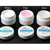 Гель для нарощування Lina UV Gel.В лоті 1на вибір прозорий, рожевий або білий.