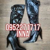 Женские кожаные сапоги ботфорты на каблуке