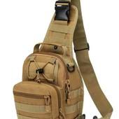 Мужской тактический рюкзак мужская сумка через плечо кросс боди Олива или Черная