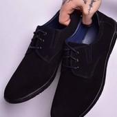 Туфли /макасины черные - нубук на шнуровке T-Taccardi,супер фирма.40-26.5 см.