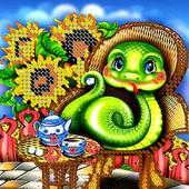 """Схема для вишивки дитяча серія """"Змійка і соняшники"""""""