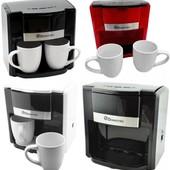Кофемашина кофеварка капельная Domotec ms двумя керамическими чашками