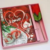 Подарочный набор: блокнот с ключем + роза