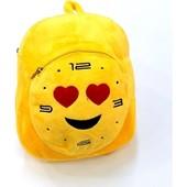 Яркий большой желтый рюкзак Эмоджи. Мягкий и легкий. Плюш