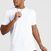 ☘ Лот 1 шт ☘ Біла базова футболка з чистої бавовни від Boohoo Man (Німеччина), розмір L