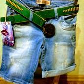 Новые турецкие качественные стрейчевые джинсовые шорты, р. 26, S, на бедра 88-92 см, поб 43 см