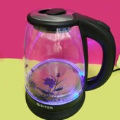 Чайник электрический дисковый стеклянный с подсветкой 1,8 л. Bitek Bt-311