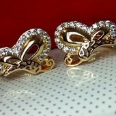 Серьги-колечки Бабочки,позолота 585 пробы