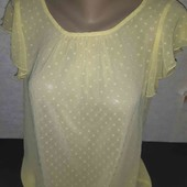 Лимонная шифоновая блуза с вышивкой плюмети! Собирайте лоты!