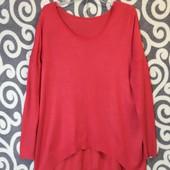 Мягенький, модный свитерок-оверсайз Chicoree с удленённой спинкой для пышненьких девушек .