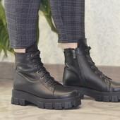 Зимняя распродажа! Ботинки из натуральной кожи и меха