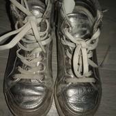 Серебристые ботиночки р.27 кожа