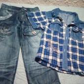 Джинсы и рубашка для мальчика 6-7 лет.