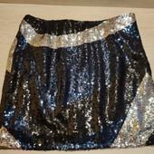 Германия!!! Классная нарядная юбка из пайеток (черные, синие и серебро)! 42 евро!