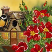 """Велика гарна схема для вишивки """"Казковий будиночок для птаха"""""""