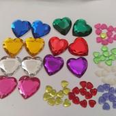 Камешки сердечки 74шт