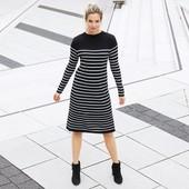 ❀Трикотажное платье в стильные полосы, от тсм Tchibo (чибо), Германия, евро 44/46 (наш 50/52)
