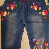 Прикольные джинсики с блесточками на 2-3 года