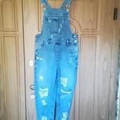 Крутой рваный джинсовый комбинезон бойфренд. Denim Co