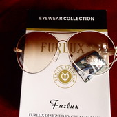 Солнцезащитные очки Furluxб тонкая белая оправа с золотом, UV 400, крупные капли