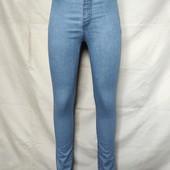 Тонкие узкие голубые джинсы с высокой посадкой,xs/s