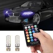 2x led t10 w5w лампа в автомобиль с пультом ДУ, 6 SMD 5050, 16 цветов