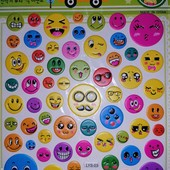 Наклейки выпуклые смайлики Эмоции. 62 стикера