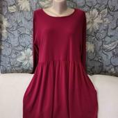 Платье цвета марсала, свободно кроя, Nicole, p. M-Л. с карманами.