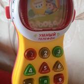 """Многофунционал.телефон развив.,интеракт.""""Умный телефон""""Ударопроч.пласт.Звук,свет.цифры,буквы,и др.!♥"""