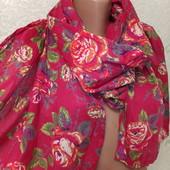 Шикарный нарядный яркий лёгкий натуральный шарф палантин 170/46 Новый Акция читайте