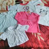 Фирменные футболка,кофточки на малышку до года и старше одним лотом