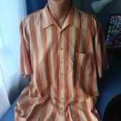 Мужская рубашка с коротким рукавом, р.3XL( ворот 45-46)