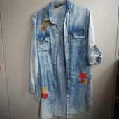Джинсовая удлиненная рубашка , размер 44