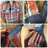 Новинка модная клетка с вставками джинса !!мужская рубашка трансформер !!батал