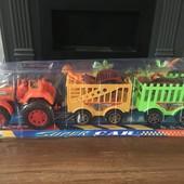 Оооочень много лотов!Большой трактор с прицепом и динозаврами46см