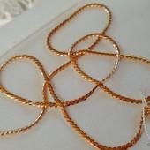 красивая и нежная цепочка, оригинальное плетение серпантин, 50 см, ширина 2 мм, позолота 585 пробы