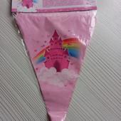 Розовые флажки гирлянда с замком.Декор