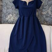 Новое, нарядное платье тёмно-синего цвета, снизу с эффектом на запах, Quiz, p. 2XL