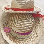 Соломенная шляпа для девочки, на окружность головы 50 см., диаметр шляпы 30 см., одна на выбор