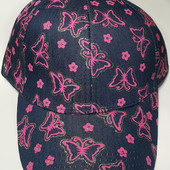 Бейсболка для девочки ог 52-55 см, 4-8 лет джинсовая с розовым фото 1