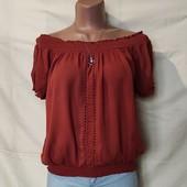 Терракотовая жатая блузочка из вискозы,s/m/L
